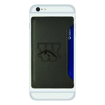 Western Michigan University-Textured Faux Leather Cell Phone Card Holder-Grey