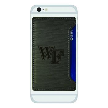 Wake Forest University-Textured Faux Leather Cell Phone Card Holder-Grey