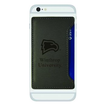 Winthrop University-Textured Faux Leather Cell Phone Card Holder-Grey