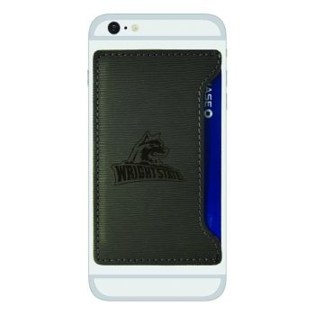 Wright State university -Textured Faux Leather Cell Phone Card Holder-Grey
