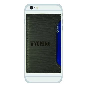 University of Wyoming-Textured Faux Leather Cell Phone Card Holder-Grey