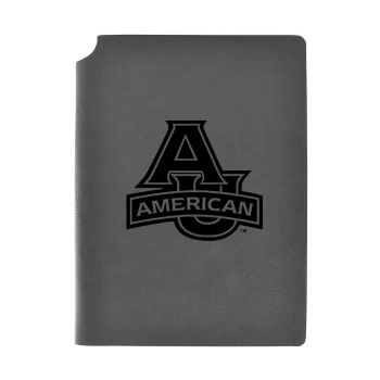 American University-Velour Journal with Pen Holder-Carbon Etched-Officially Licensed Collegiate Journal-Grey