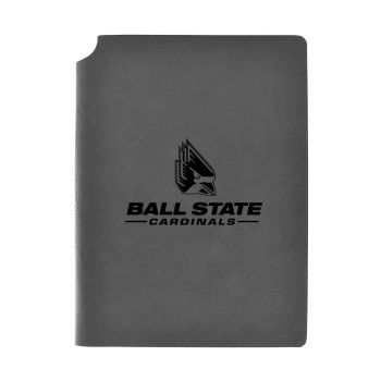 Ball State University-Velour Journal with Pen Holder-Carbon Etched-Officially Licensed Collegiate Journal-Grey