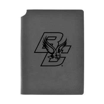 Boston College-Velour Journal with Pen Holder-Carbon Etched-Officially Licensed Collegiate Journal-Grey