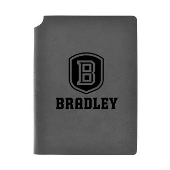 Bradley University-Velour Journal with Pen Holder-Carbon Etched-Officially Licensed Collegiate Journal-Grey