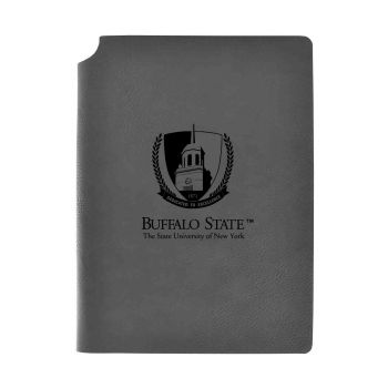Buffalo State University - The State Universtiy of New York-Velour Journal with Pen Holder-Carbon Etched-Officially Licensed Collegiate Journal-Grey