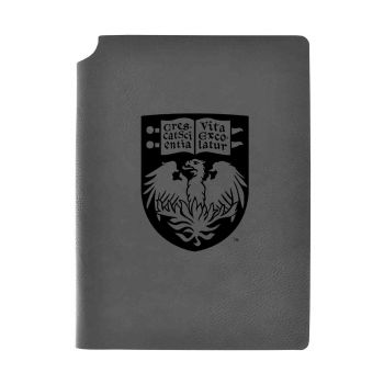 University of Chicago-Velour Journal with Pen Holder-Carbon Etched-Officially Licensed Collegiate Journal-Grey