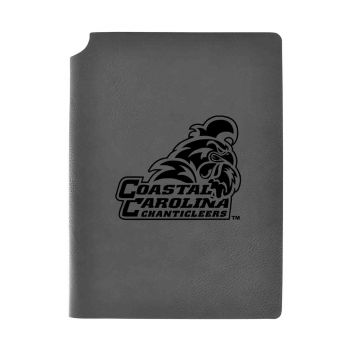 Coastal Carolina University-Velour Journal with Pen Holder-Carbon Etched-Officially Licensed Collegiate Journal-Grey
