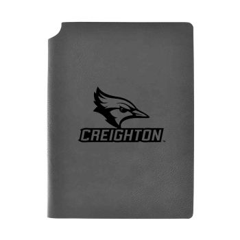 Creighton University-Velour Journal with Pen Holder-Carbon Etched-Officially Licensed Collegiate Journal-Grey