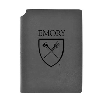 Emory University-Velour Journal with Pen Holder-Carbon Etched-Officially Licensed Collegiate Journal-Grey