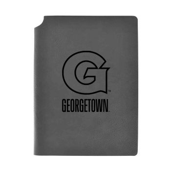 Georgetown University-Velour Journal with Pen Holder-Carbon Etched-Officially Licensed Collegiate Journal-Grey