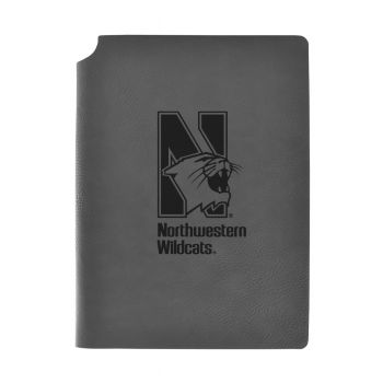 Northwestern University-Velour Journal with Pen Holder-Carbon Etched-Officially Licensed Collegiate Journal-Grey