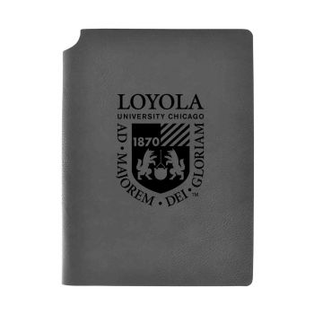 Loyola University Chicago -Velour Journal with Pen Holder-Carbon Etched-Officially Licensed Collegiate Journal-Grey