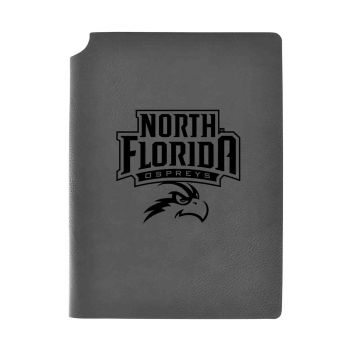 University of North Florida-Velour Journal with Pen Holder-Carbon Etched-Officially Licensed Collegiate Journal-Grey