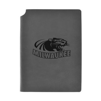 University of Wisconsin-Milwaukee-Velour Journal with Pen Holder-Carbon Etched-Officially Licensed Collegiate Journal-Grey