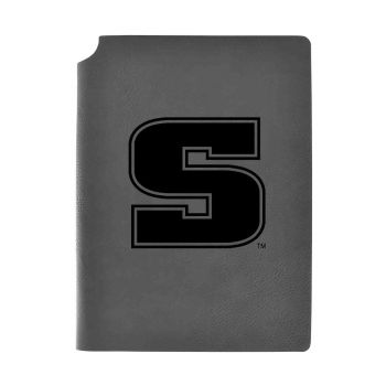 Slippery Rock University -Velour Journal with Pen Holder-Carbon Etched-Officially Licensed Collegiate Journal-Grey