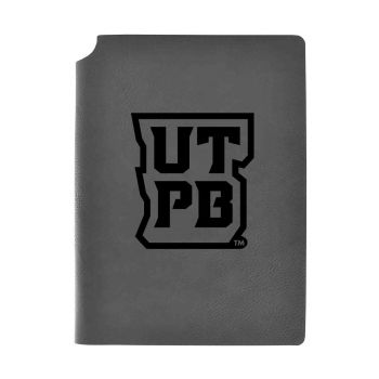 The University of Texas at The Permian Basin-Velour Journal with Pen Holder-Carbon Etched-Officially Licensed Collegiate Journal-Grey