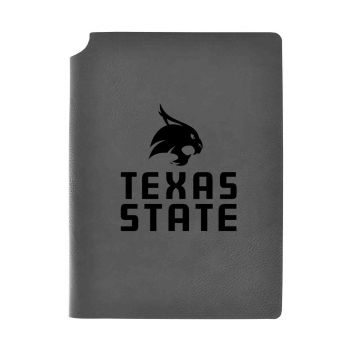 Texas State University-Velour Journal with Pen Holder-Carbon Etched-Officially Licensed Collegiate Journal-Grey