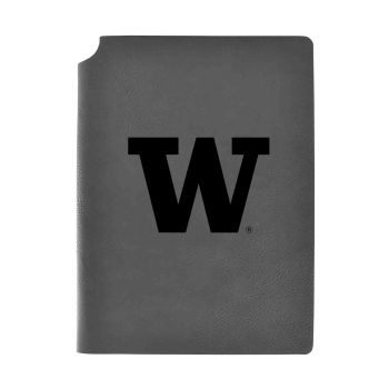 University of Washington-Velour Journal with Pen Holder-Carbon Etched-Officially Licensed Collegiate Journal-Grey
