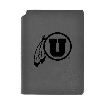 University of Utah-Velour Journal with Pen Holder-Carbon Etched-Officially Licensed Collegiate Journal-Grey