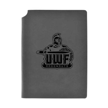 University of West Florida-Velour Journal with Pen Holder-Carbon Etched-Officially Licensed Collegiate Journal-Grey