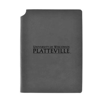 University of Wisconsin-Platteville-Velour Journal with Pen Holder-Carbon Etched-Officially Licensed Collegiate Journal-Grey
