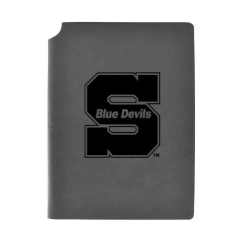 University of Wisconsin-Stout-Velour Journal with Pen Holder-Carbon Etched-Officially Licensed Collegiate Journal-Grey