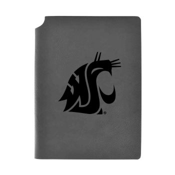 Washington State University-Velour Journal with Pen Holder-Carbon Etched-Officially Licensed Collegiate Journal-Grey