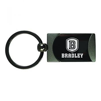 Bradley University -Two-Toned gunmetal Key Tag-Gunmetal
