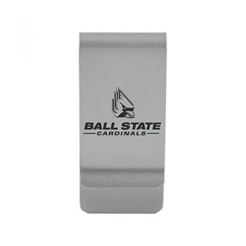 Ball State University|Money Clip with Contemporary Metals Finish|Solid Brass|High Tension Clip to Securely Hold Cash, Cards and ID's|Gold