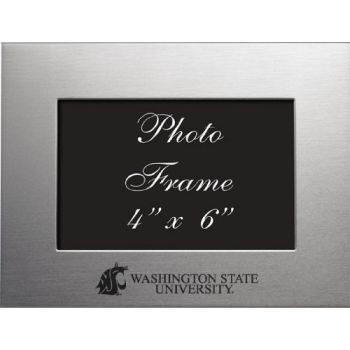 Washington State University - 4x6 Brushed Metal Picture Frame - Silver