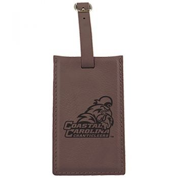 Coastal Carolina University -Leatherette Luggage Tag-Brown