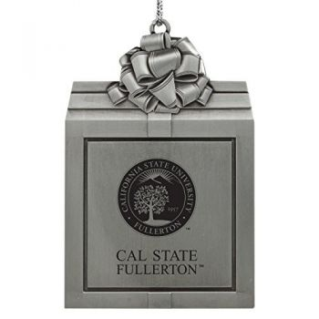 California State University Fullerton -Pewter Christmas Holiday Present Ornament-Silver