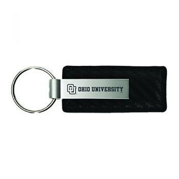 Ohio University-Carbon Fiber Leather and Metal Key Tag-Black