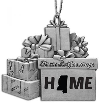 Mississippi-State Outline-Home-Pewter Gift Package Ornament-Silver