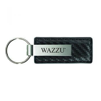 Washington State University-Carbon Fiber Leather and Metal Key Tag-Grey