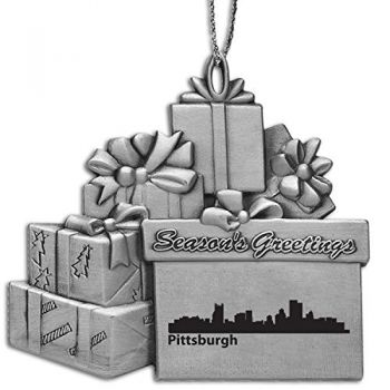 Pewter Gift Display Christmas Tree Ornament - Pittsburgh City Skyline