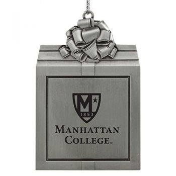 Manhattan College-Pewter Christmas Holiday Present Ornament-Silver