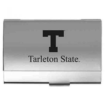 Tarleton State University - Two-Tone Business Card Holder - Silver