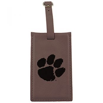 Clemson University -Leatherette Luggage Tag-Brown