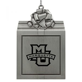 Marquette University-Pewter Christmas Holiday Present Ornament-Silver