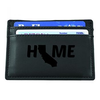 California-State Outline-Home-European Money Clip Wallet-Black