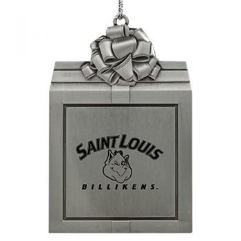Saint Louis University -Pewter Christmas Holiday Present Ornament-Silver