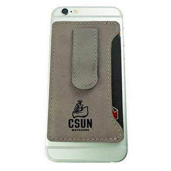 California State University, Northridge -Leatherette Cell Phone Card Holder-Tan