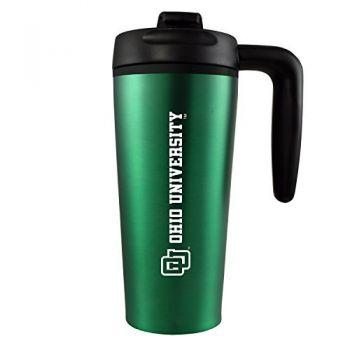 Ohio University -16 oz. Travel Mug Tumbler with Handle-Green
