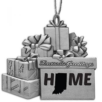 Indiana-State Outline-Home-Pewter Gift Package Ornament-Silver