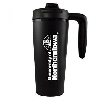 University of Northern Iowa-16 oz. Travel Mug Tumbler with Handle-Black