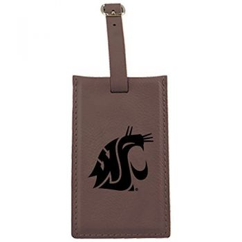 Washington State University -Leatherette Luggage Tag-Brown