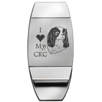 Stainless Steel Money Clip  - I Love My Cavalier King Charles