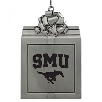 Southern Methodist University -Pewter Christmas Holiday Present Ornament-Silver